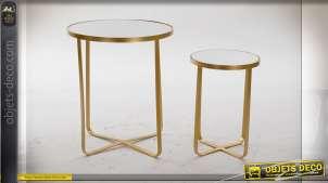 TABLE AUXILIAIRE SET 2 MÉTAL MIROIR 43,4X43,4X52,3
