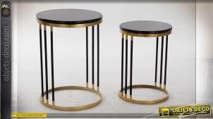 TABLE AUXILIAIRE SET 2 MÉTAL MARBRE 40X40X55 NOIR