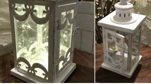 Petite lanterne blanche en métal finition blanc effet ancien, gros anneau de suspension, 31cm