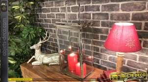 Lanterne en métal finition chromé, style serre pour plantes type succulents, grande anse de transport, 46cm