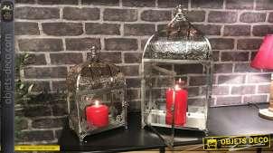 Série de deux lanternes en métal très ajouré, finition chromé brillant, esprit oriental moucharabieh, 51cm