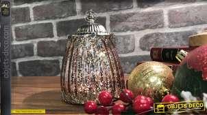 Petite lanterne en verre irisé vieux rose et en métal argenté vieilli style feuilles, éclairage LED à piles, 13cm