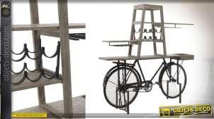 Grande console bar en bois de bouleau blanchi et métal avec châssis de vélo style rétro, esprit vintage, 190cm