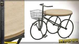 Table basse en forme de vélo à trois roues, en bois de sapin et métal finition noir, original et rétro, 94cm