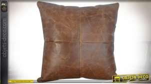 Coussin en cuir de buffle épais couleur havane 45 x 45 cm