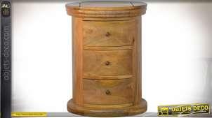 Table de chevet cylindrique à 3 tiroirs en bois massif vieilli 58 cm