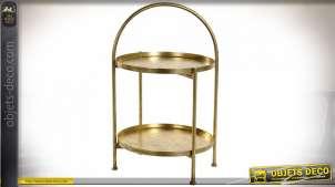 Plateau serviteur en métal doré vieilli à deux niveaux 61 cm