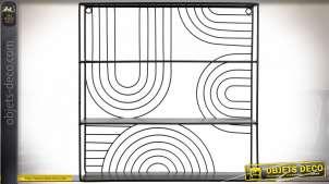 Petite étagère murale noir en métal à trois niveaux 40 cm