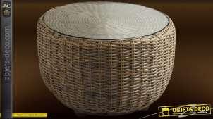 Table basse ronde en poelet gris avec plateau en verre