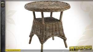 Table d'appoint ronde en poelet gris Ø 68 cm