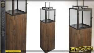Lanterne colonne design en métal bois et verre (114 cm)