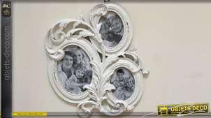 Pèle-mêle baroque avec 3 cadres ovales patine antique