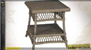 Table basse en rotin gris style rétro