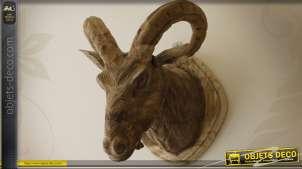 Déco murale sculptée sur bois trophée tête de chèvre