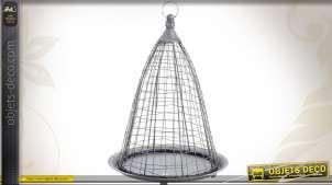 Jardinière suspendue corbeille cage en zinc vieilli