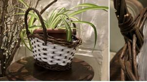 Jardinière décorative en bois et osier brut en forme de panier avec deux grandes anses, 26cm