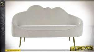 Canapé deux places en forme de nuage blanc, effet velours style romantique