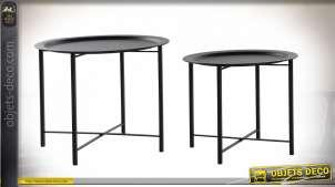TABLE AUXILIAIRE SET 2 MÉTAL 62X48,5 NOIR