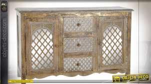 Buffet en bois de manguier finition naturel doré effet vieilli style oriental, 121cm