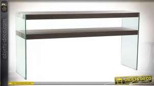 Console en verre et bois de noyer finition naturel style moderne, 160cm