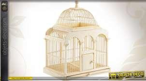 Cage à oiseaux en bambou patiné avec tiroir