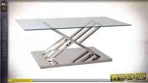 Table basse en verre et acier finition chromé de style moderne, 120cm