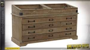 Console en bois finition naturelle esprit meuble de métier, 110cm