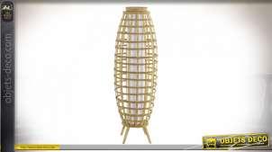 Grande lampe à poser en bambou finition naturelle sryle tropical, 97cm
