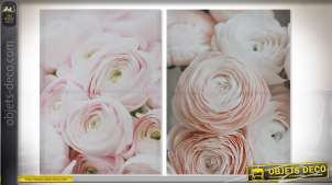 TABLEAU TOILE PIN 50X1,8X70 ROSES 2 MOD.