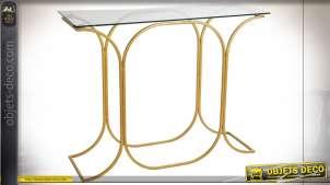 Console en verre et métal finition dorée style moderne, 100cm
