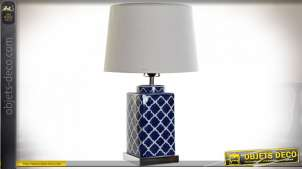 Lampe de table en porcelaine décorative, finition blanc et bleu roi esprit vintage coloré, 57cm
