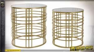 Série de deux tables basses finition dorée plateau en verre fumé style moderne, 51cm