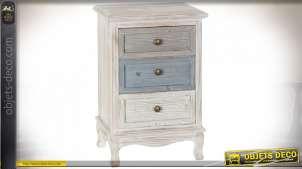 Table de chevet en bois de sapin blanc délavé esprit bord de mer, 64cm
