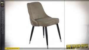 Chaise marron effet velours dossier capitonné style vintage, 84cm