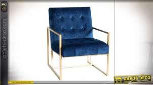 Fauteuil bleu marine finition dorée esprit rétro, 76cm