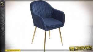 Chaise de salon bleue finition dorée style rétro, 59.5cm