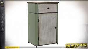 Chiffonier blanc et vert effet cuir style rétro, 82.5cm