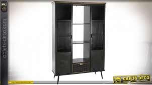 Vitrine noire style rétro industriel portes en verre cannelé, 182cm