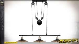 Suspension de style industrielle et rétro avec système de poulies 3 points de lumière 80 cm