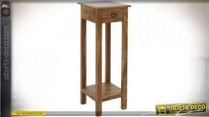 Sellette en bois d'acacia finition naturelle style rustique, 86cm