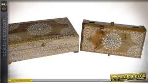 Série de deux coffrets à bijoux en bois de manguier, style oriental, 33cm
