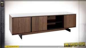 Meuble TV en bois de noyer, plateau en céramique blanc esprit vintage,  179cm