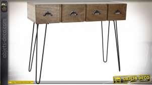 Console en bois de manguier finition naturelle esprit rétro, 100cm