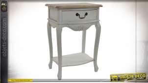 Table de chevet en bois sculpté finition blanc effet vieilli, style shabby chic, 69cm