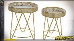 Série de deux tables d'appoint en métal doré, rebords style moucharabieh, 58cm