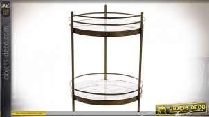 Table d'appoint avec galeries en métal et marbre style rétro, 59cm