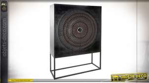 Armoire noire en bois de manguier gravé style ethnique, 176cm
