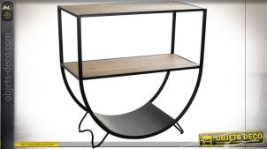 Console en métal et bois de style industriel, structure en arc de cercle finition noir, 81cm