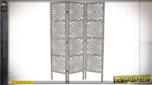 Paravent en bois de pin sculpté finition blanc vieilli style mandala, 170cm