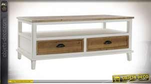 Table basse style cottage en bois de sapin finition blanchi/naturel, 120cm